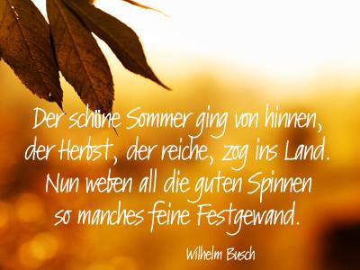 """""""Der Herbst steht auf der Leiter und malt die Blätter an"""